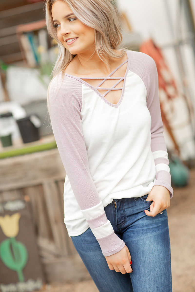 Ahead of the Game Criss Cross Baseball Tee in Lavender