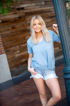First Love V Neck Twist Top in Steel Blue