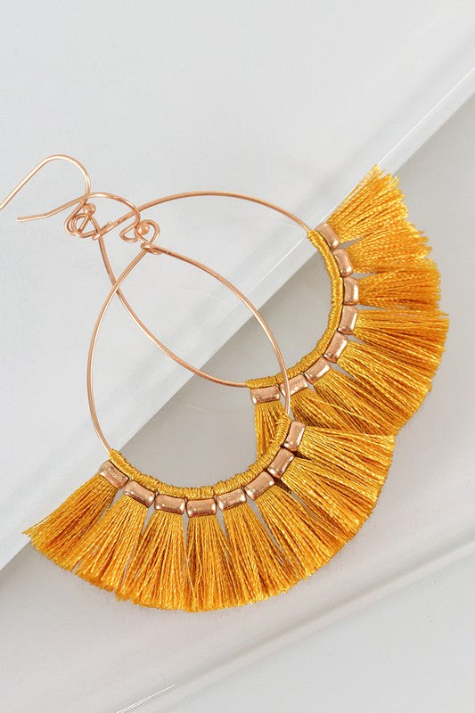 Ashley Fringe Earrings in Mustard