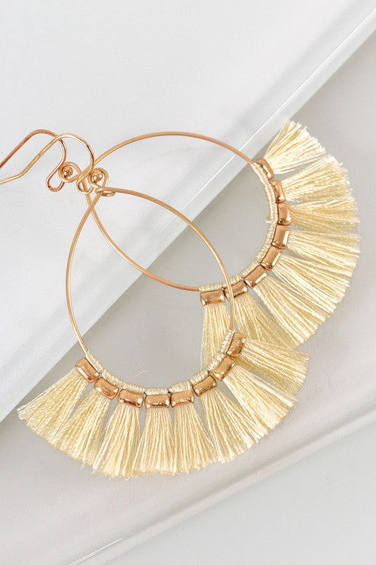 Ashley Fringe Earrings in Cream