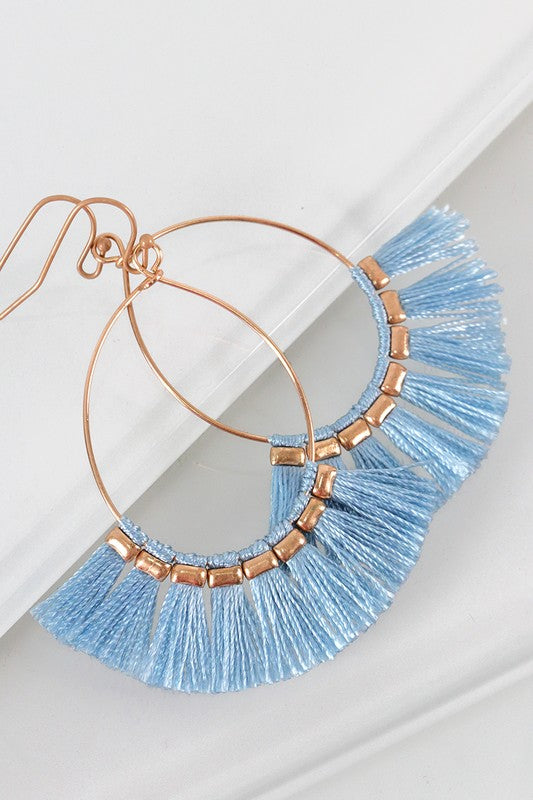 Ashley Fringe Earrings in Light Blue