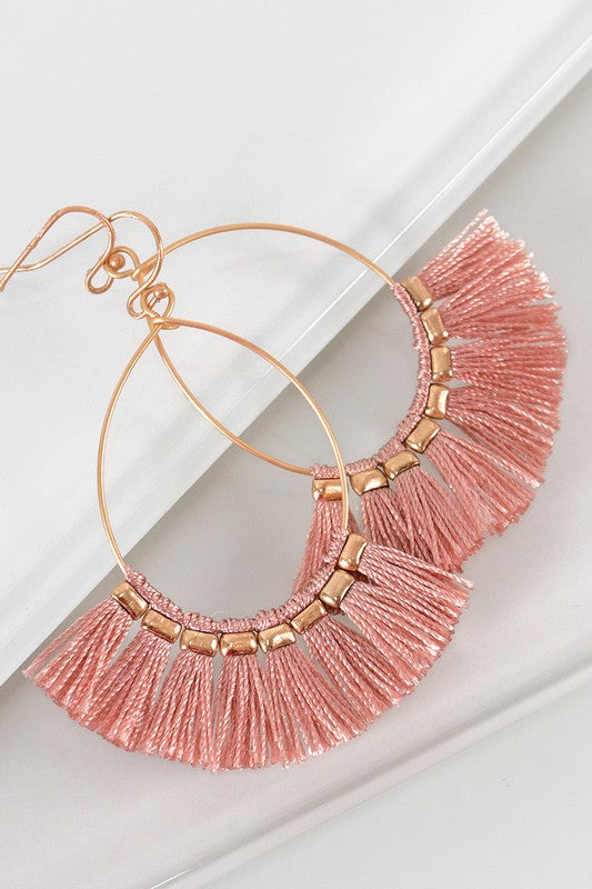 Ashley Fringe Earrings in Blush