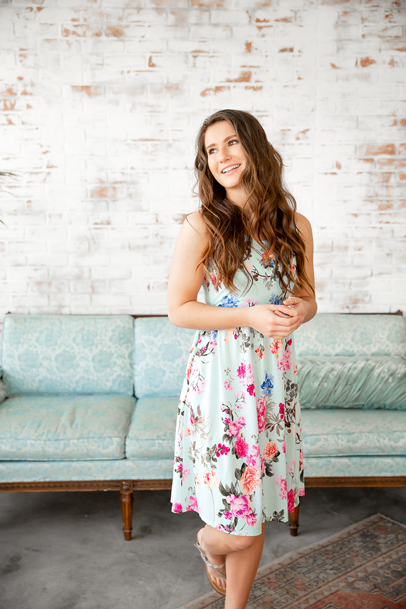 Dance With Me Floral Dress in Mint