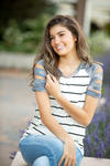 Street Dance Striped Open Shoulder Top with Camo