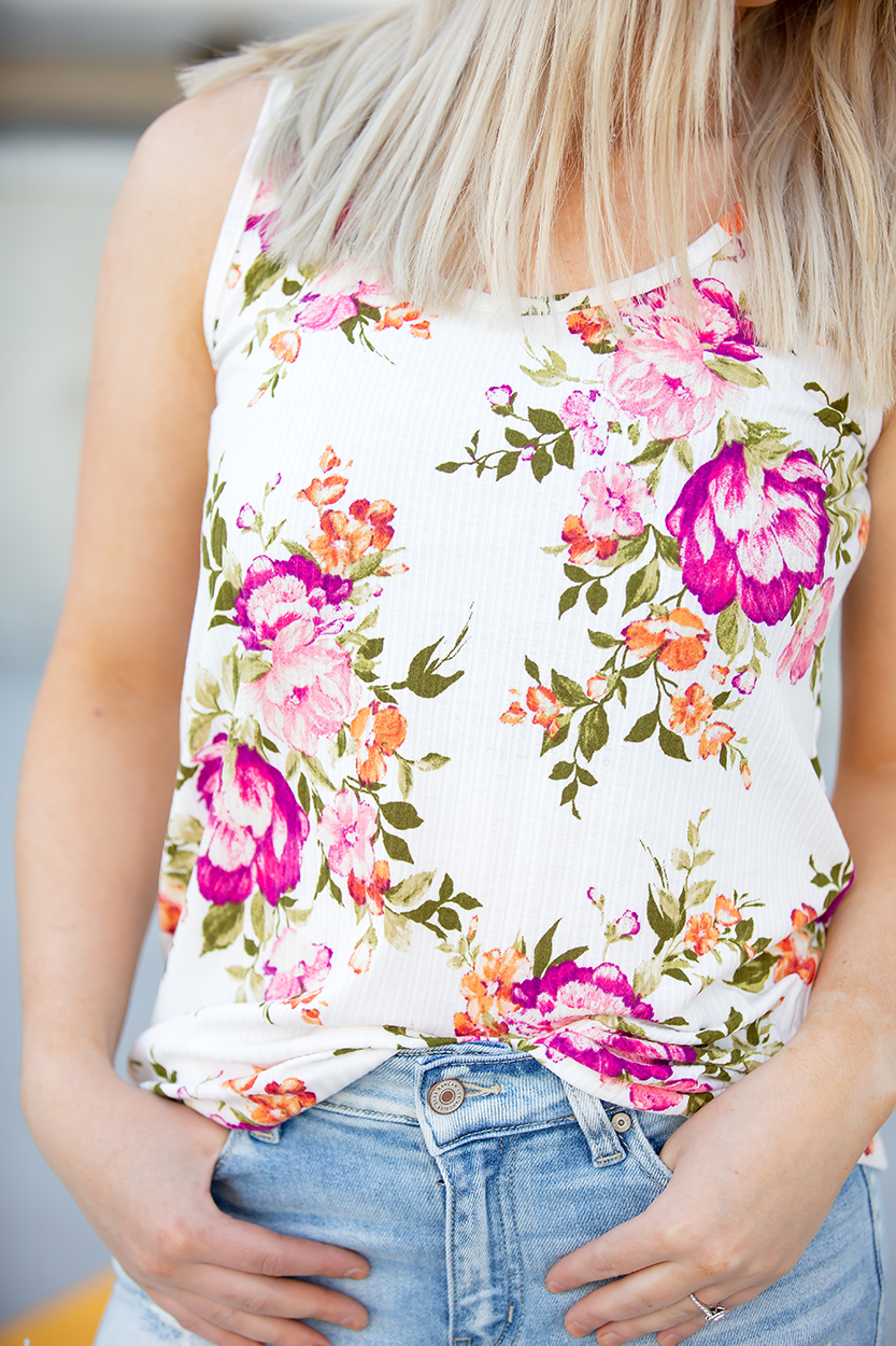 Always A Good Reason Cream Floral Tank