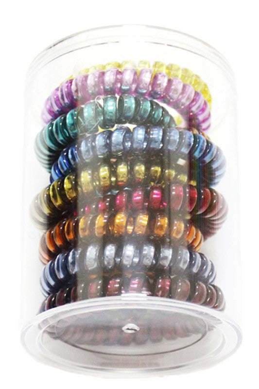 Dark Multicolored Boutique Coil Hair Ties
