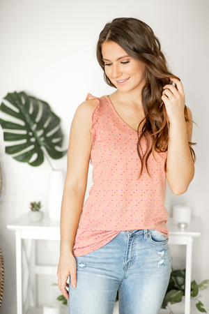 Picture Perfect Pink Confetti Dot Tank