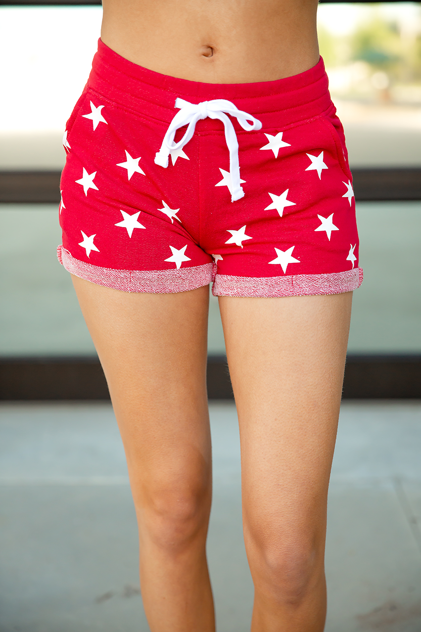 Seeing Fireworks Stars Shorts in Red