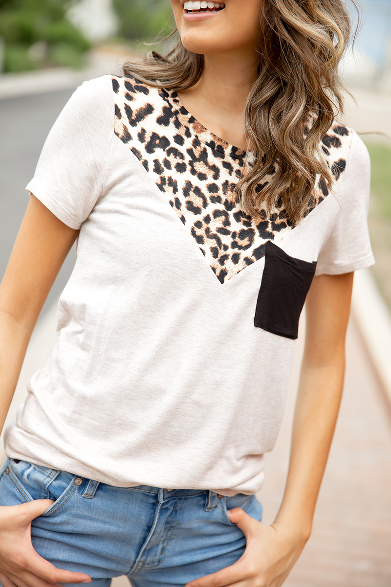 Drive Me Wild Animal Print Top in Oatmeal