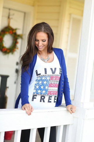 USA Live Free Tank in White