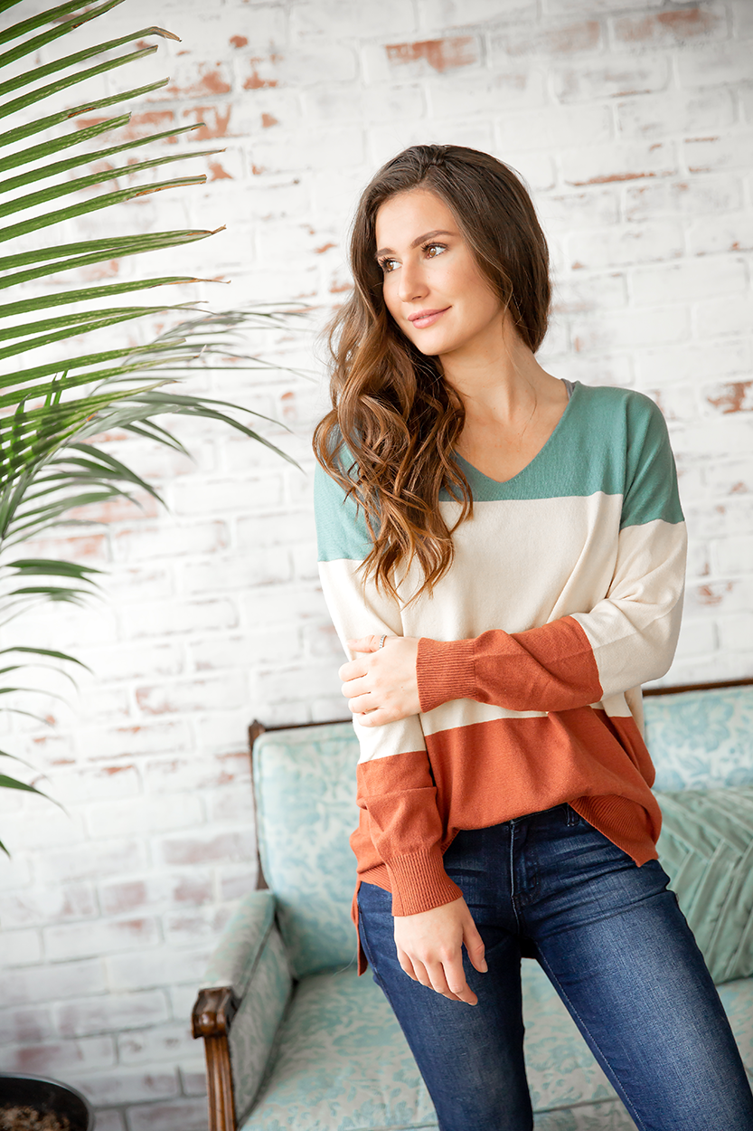 All Day Everyday Striped Top in Rust, Cream and Turquoise