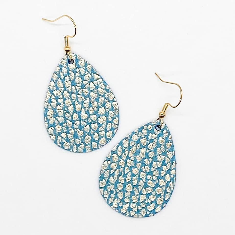 Teal with Gold Shimer Bitty Earrings