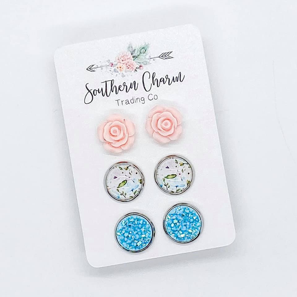 Pink Roses/Pink & Blue Floral/Robin Egg Shimmer Studs in Stainless Steel Settings