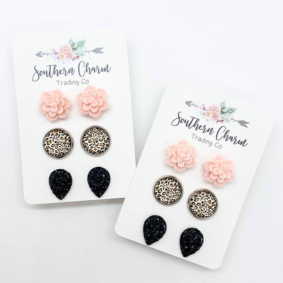 Pink Succulents, Leopard, and Black Teardrop Triplets Studs