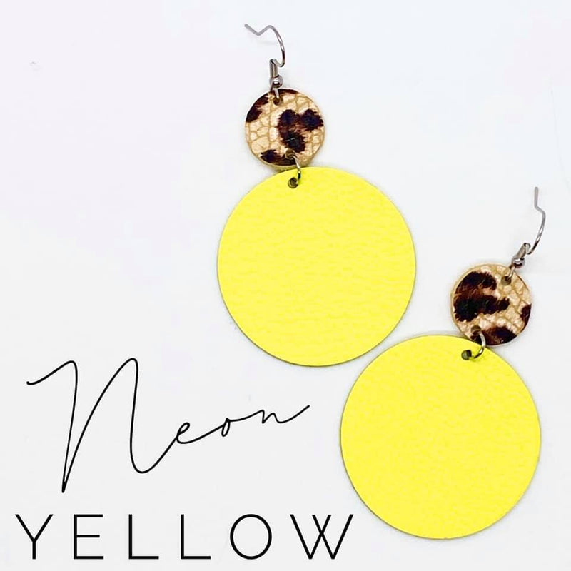 Neon Yellow Piggy Back Earrings
