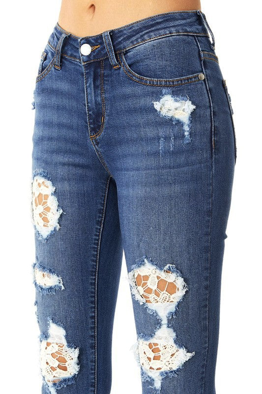 **Pre-Order** Judy Blue Patched Up Lace Denim