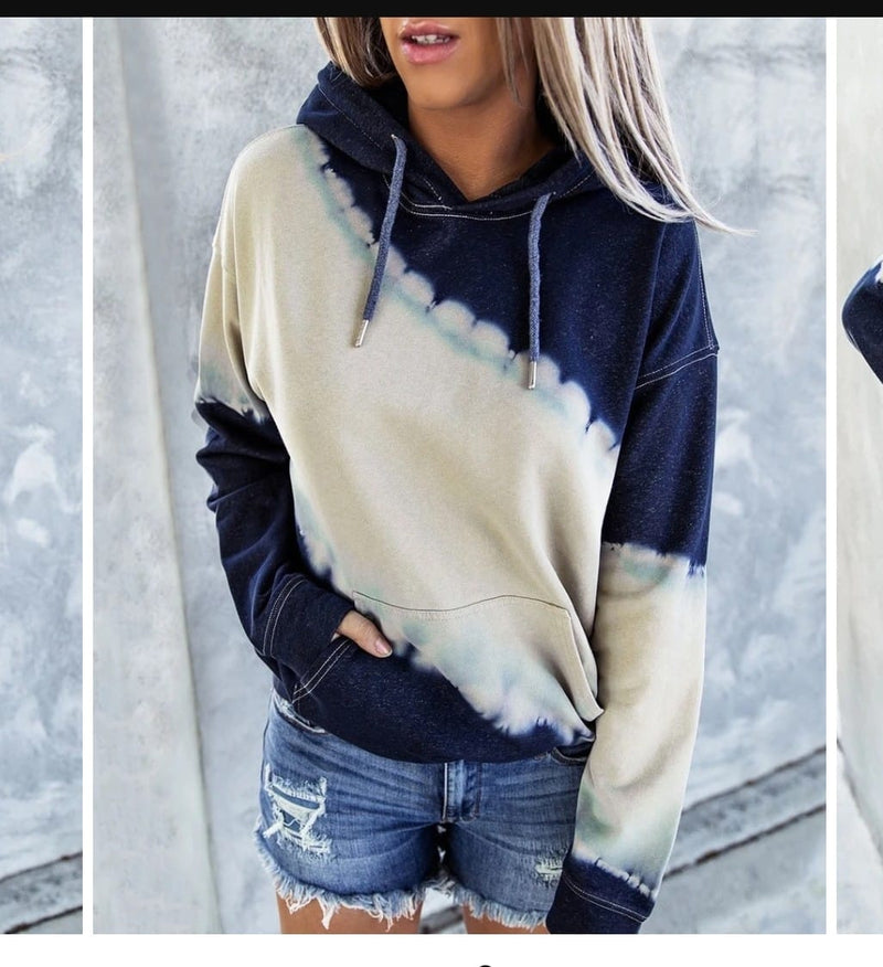 Memories to Last a Lifetime Tie Dye Hoodie in Navy and Taupe