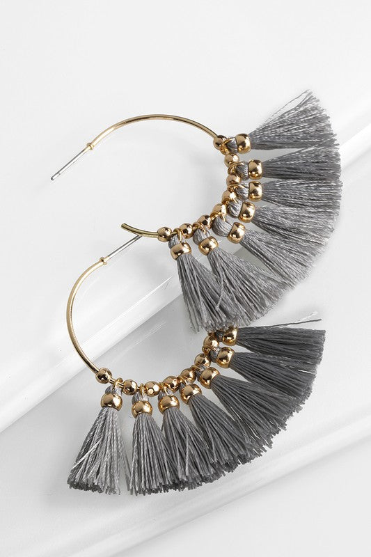 Lucy Fringe Earrings in Gray