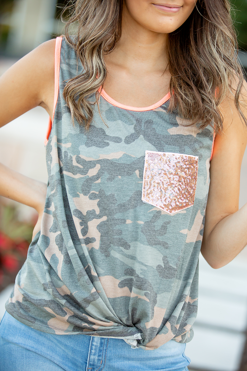 Early Mornings Camo with Neon Coral Tank