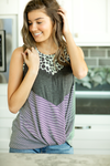No Mystery Color Block Tank in Mint Animal Print