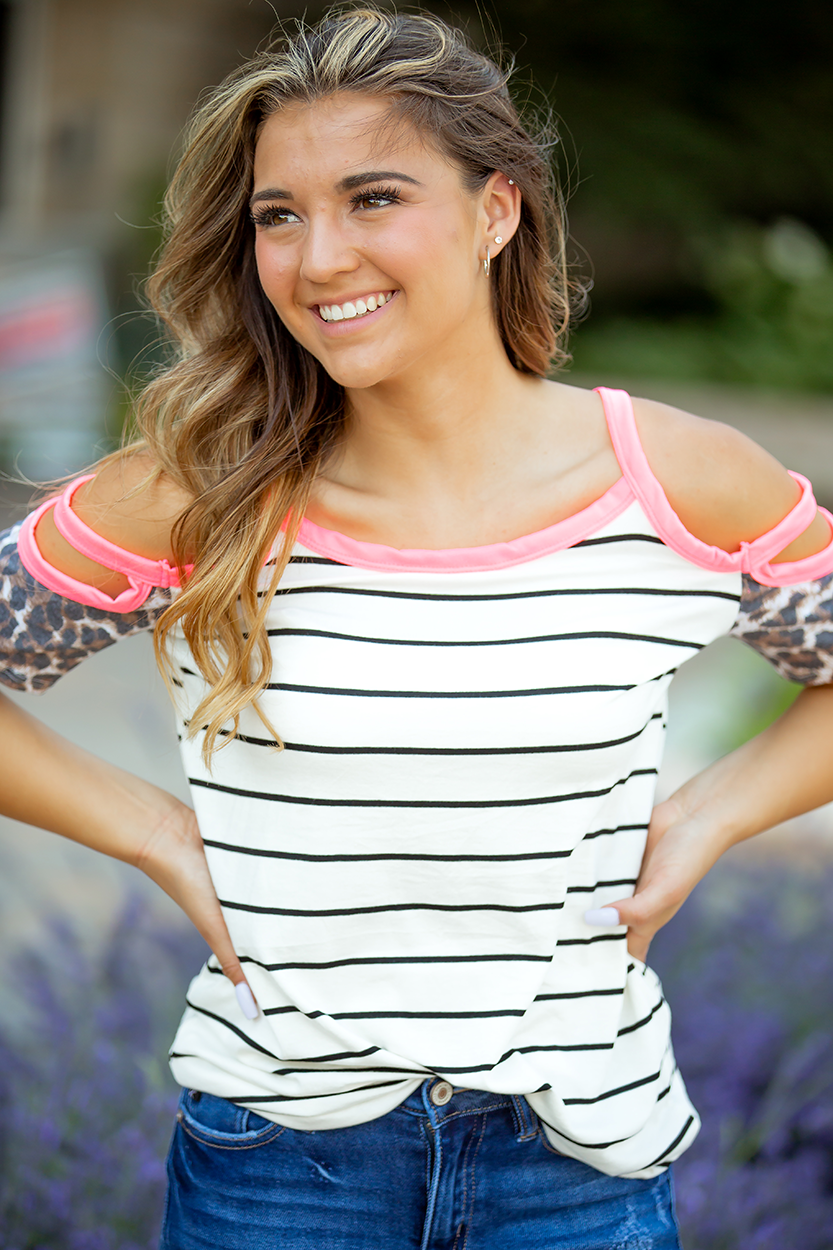 Always A Good Reason Stripe Open Shoulder Tank