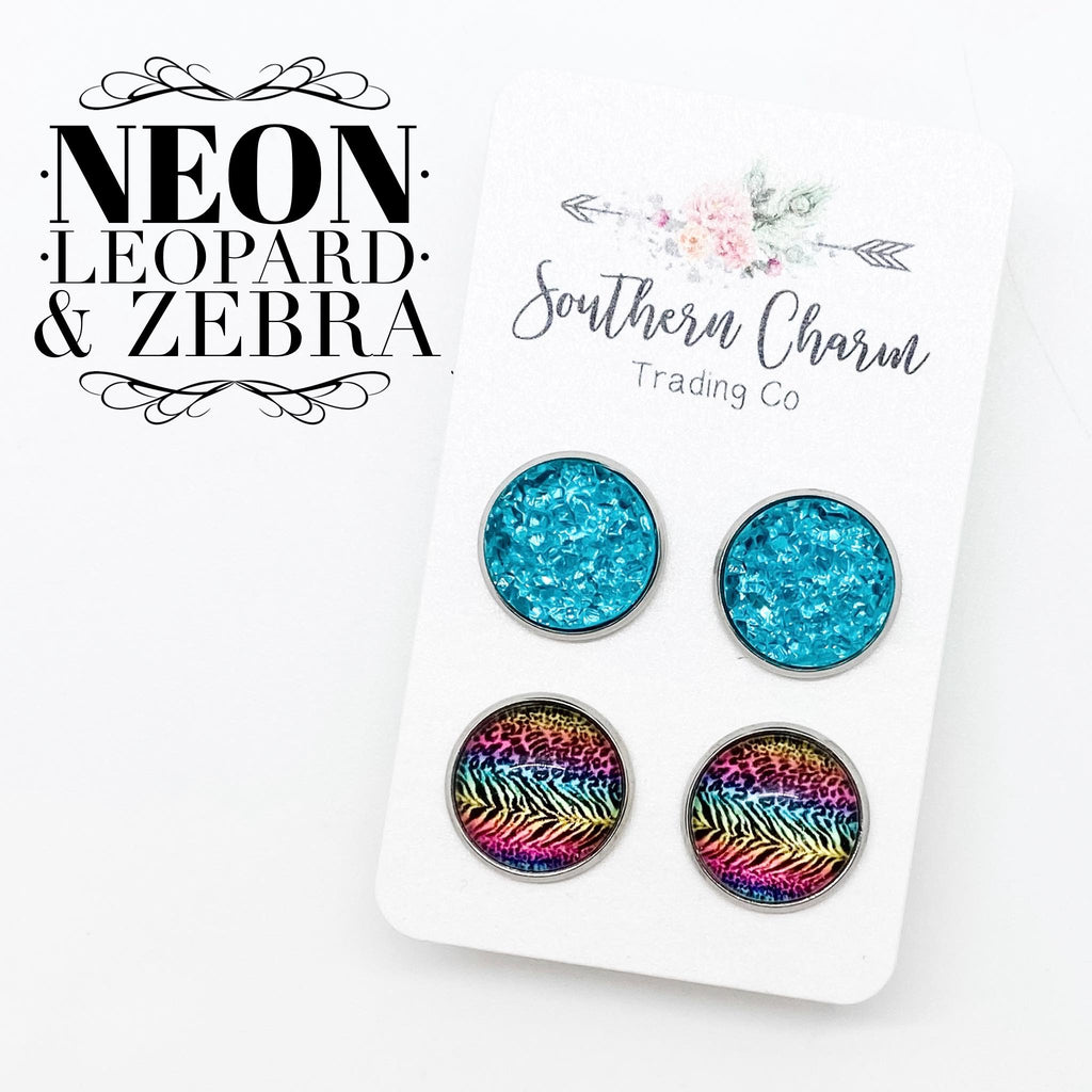 Neon Leopard and Zebra and Teal Sparkle Studs in Stainless Steel