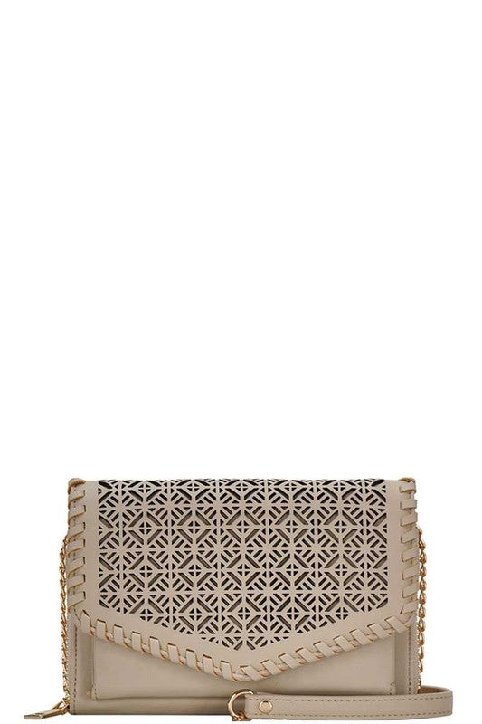No Wonder Design Cut Out Cross Body Bag in Light Taupe