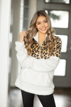 Be Near Me Animal Print Quarter Zip Sherpa in Ivory