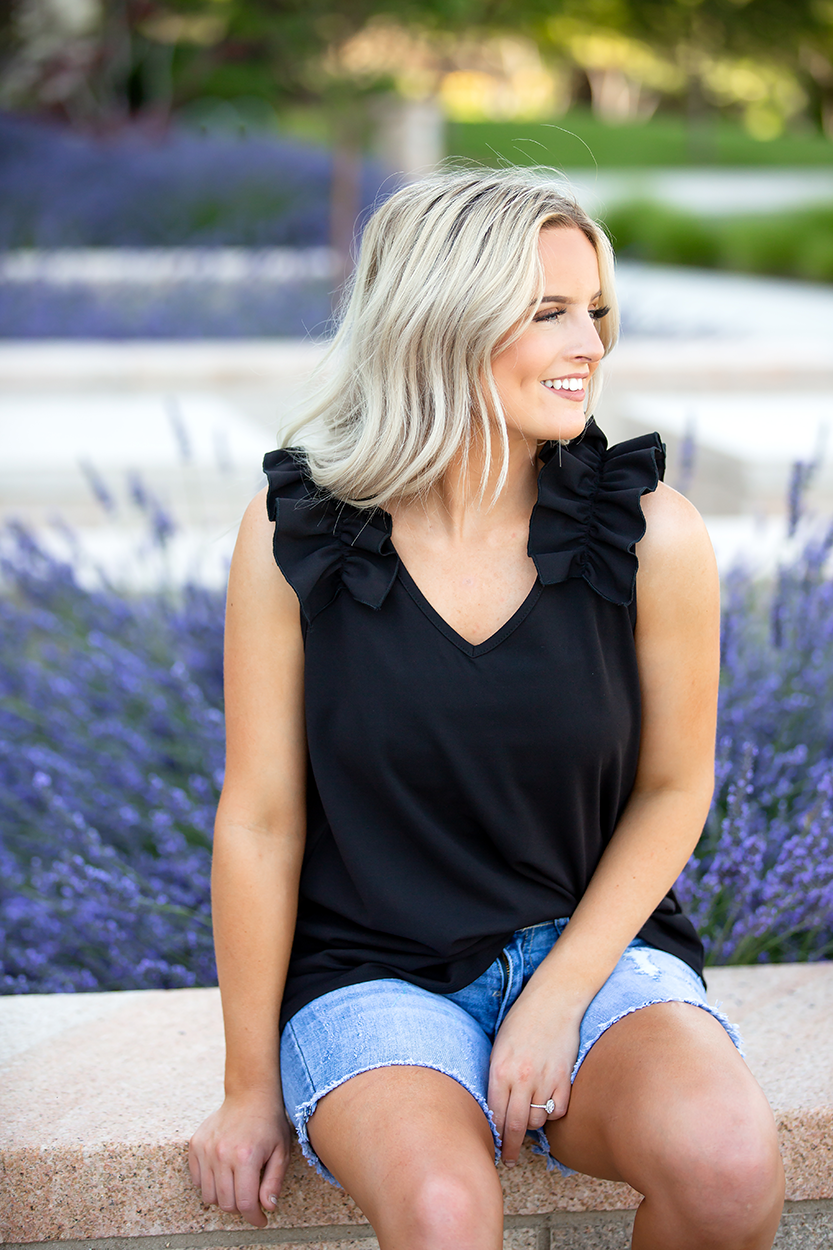 Expressions Black Tank with Ruffle Sleeves