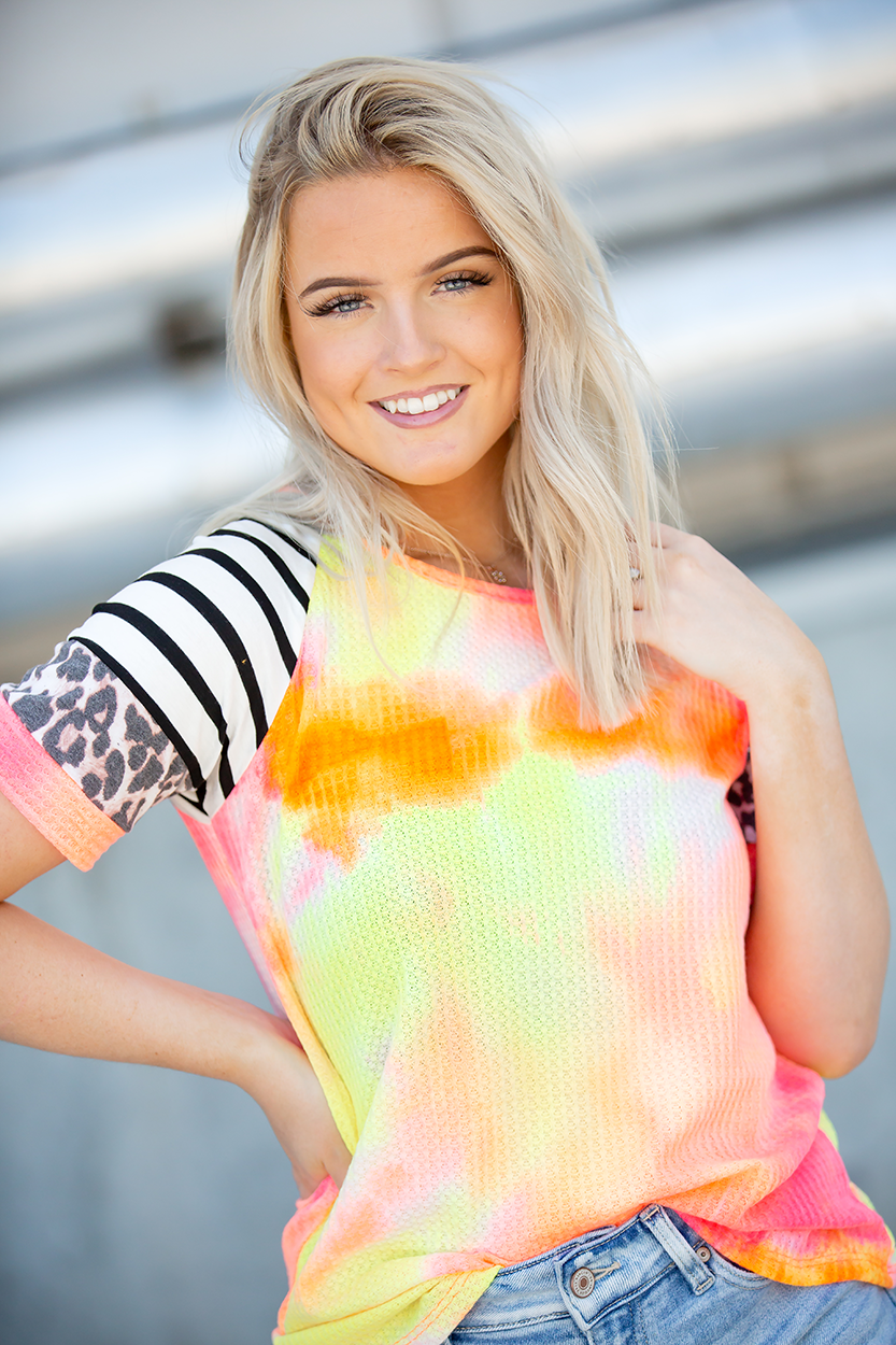 Back in Time Neon Coral Ribbed Knit Tie Dye Top