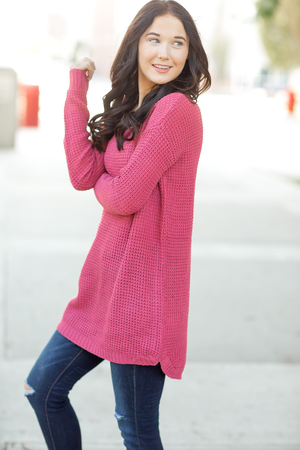 Take What Comes Sweater in Rose