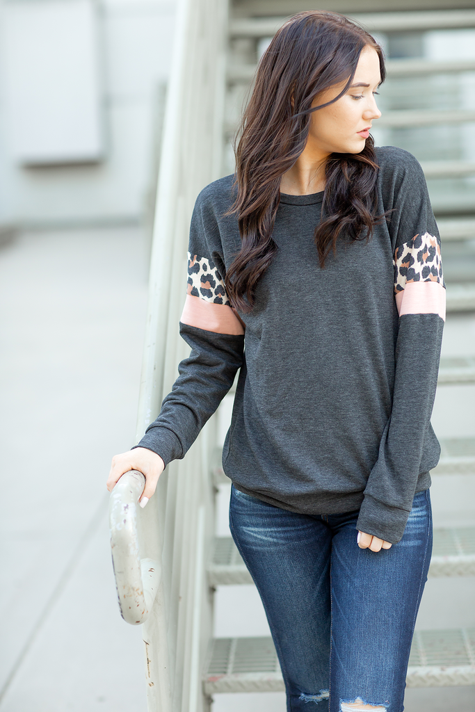 Take Me Back There Animal Print and Blush Detailed Pullover in Charcoal