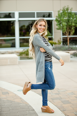 No Expectations Cardigan in Heather Gray