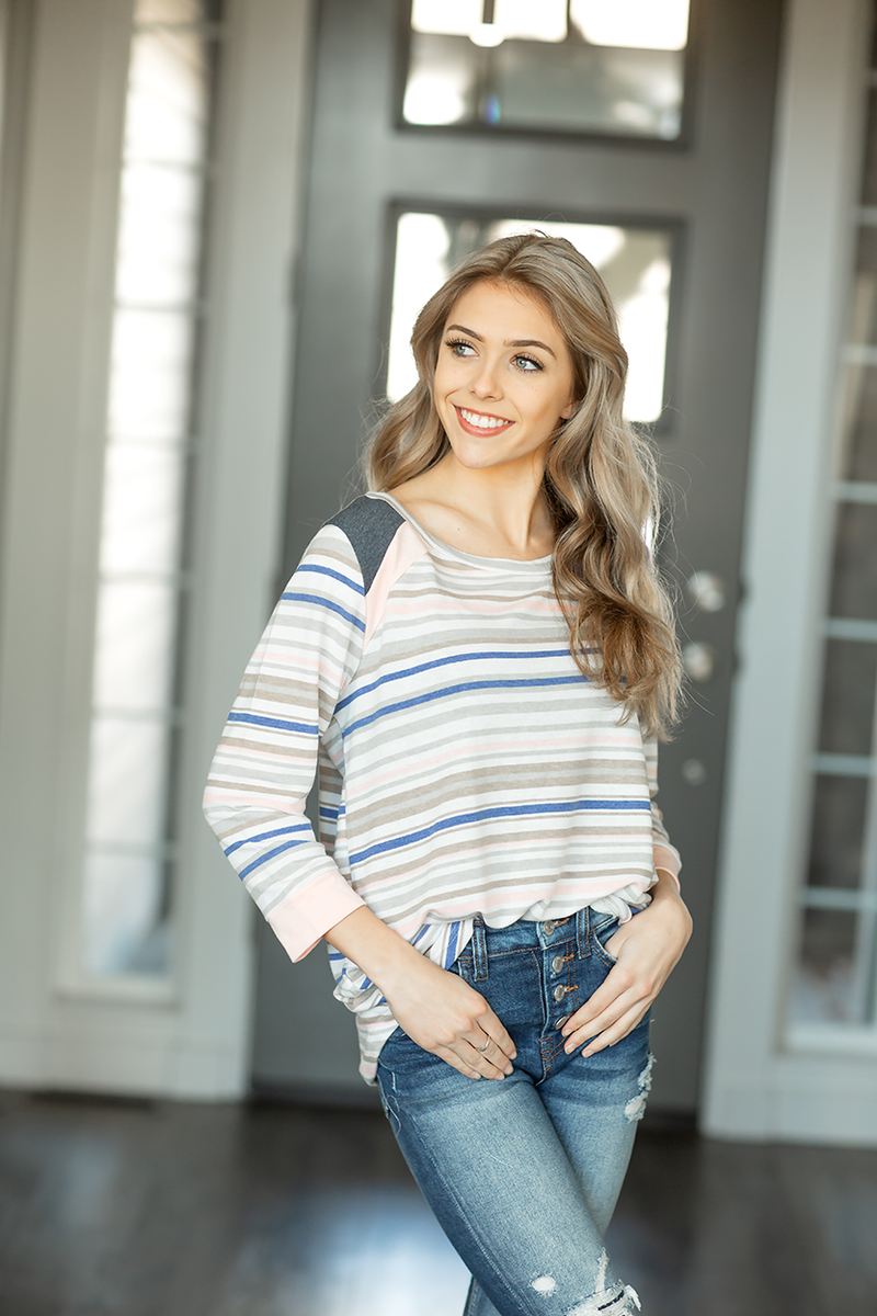 Don't Take Anything 3/4 Sleeve Top in Stripes