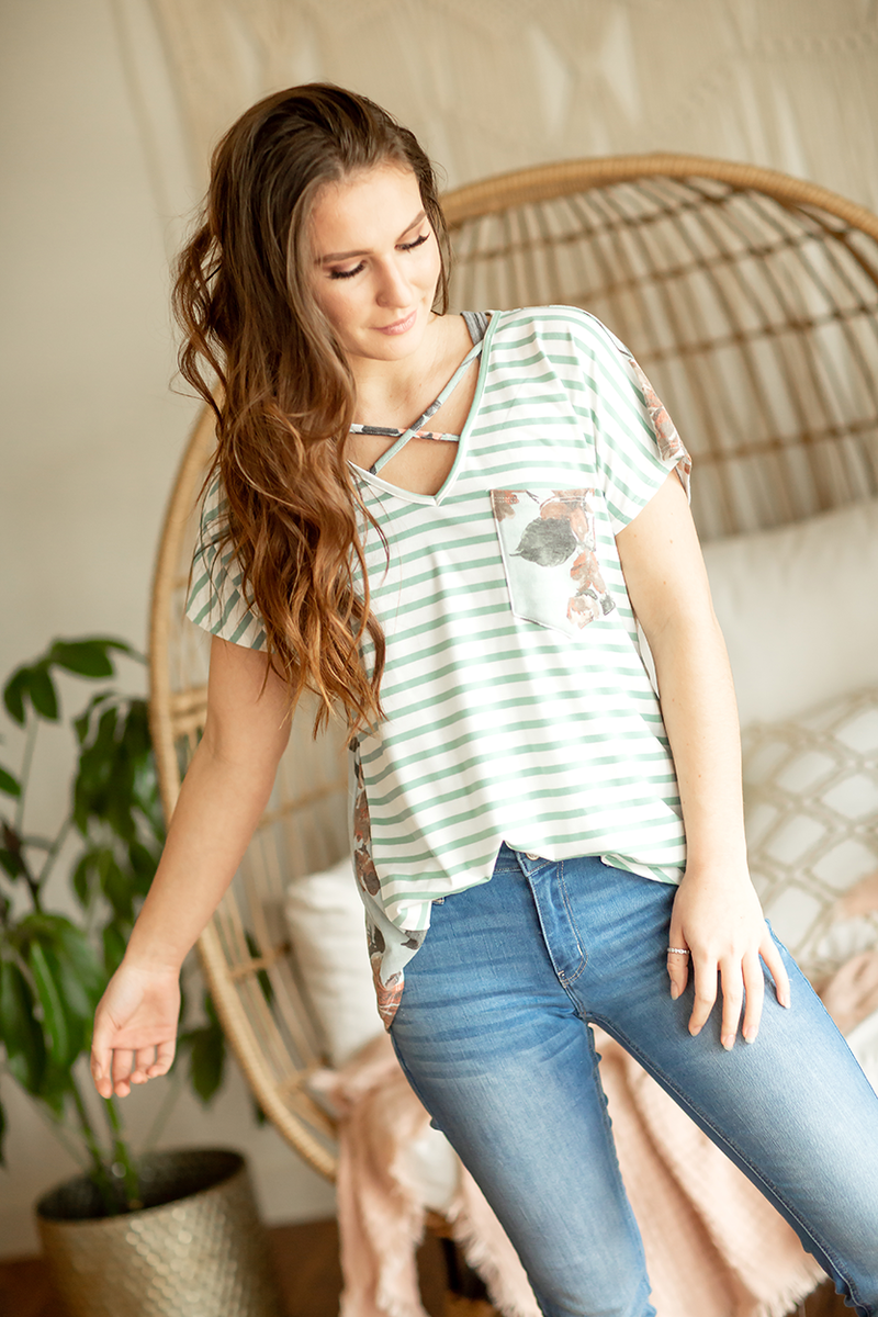 All For Floral Criss Cross Tee in Mint with Stripes