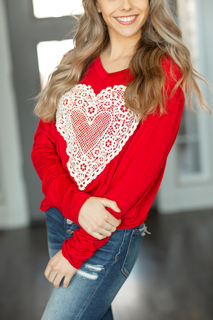 Loving Together Crochet Heart Top in Red