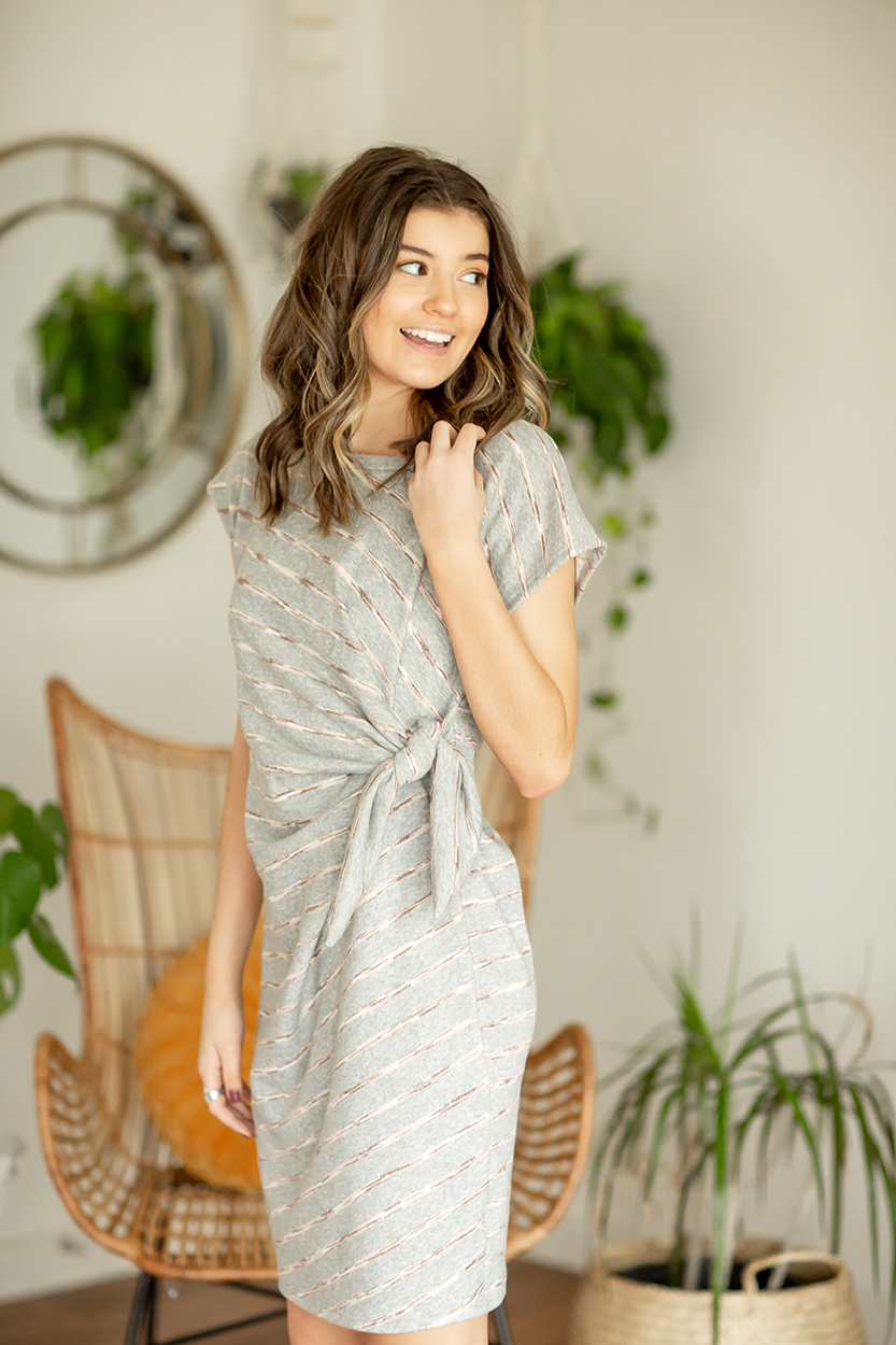 Wonder Struck Striped Knotted Dress in Gray