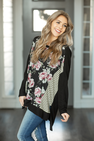 Two Worlds Collide Top in Black Floral