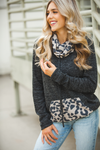 Part Time Love Heather Charcoal Cowl Neck with Animal Print Detail