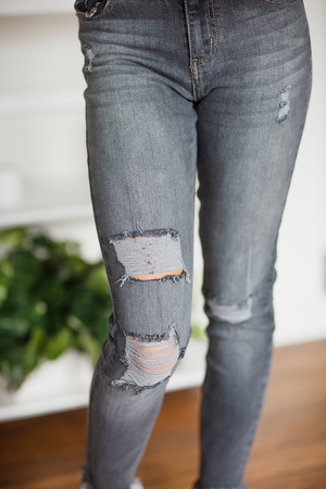 KanCan Too Late Gray High Rise Ankle Skinny Jeans
