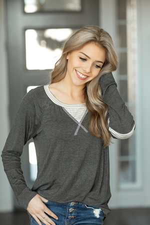 The Beat Top in Gray with Stripes