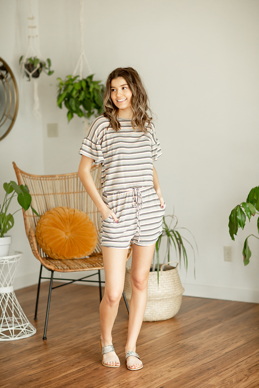 Every Now and Again Striped Romper