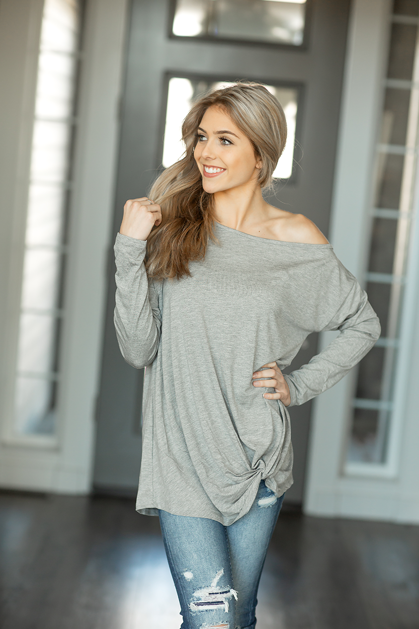 Sweet the Sound Off the Shoulder Top in Heather Gray