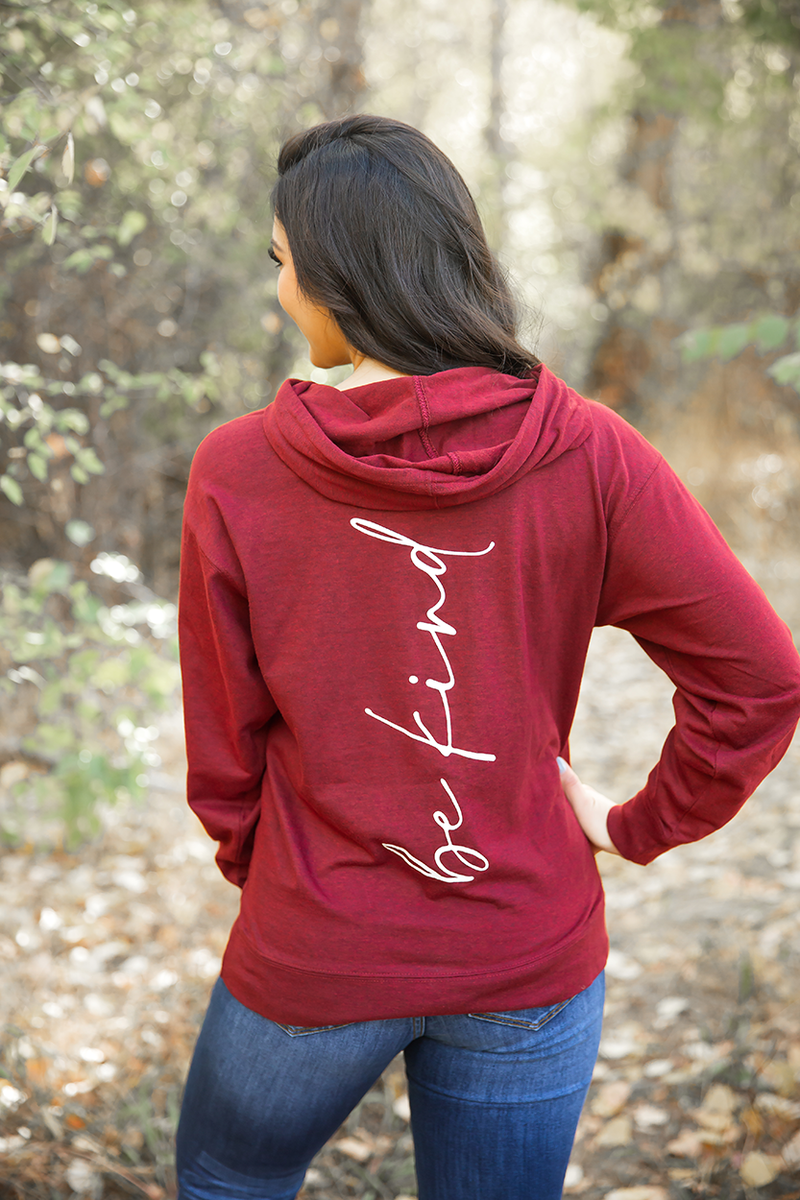 Be Kind Hoodie in Burgundy