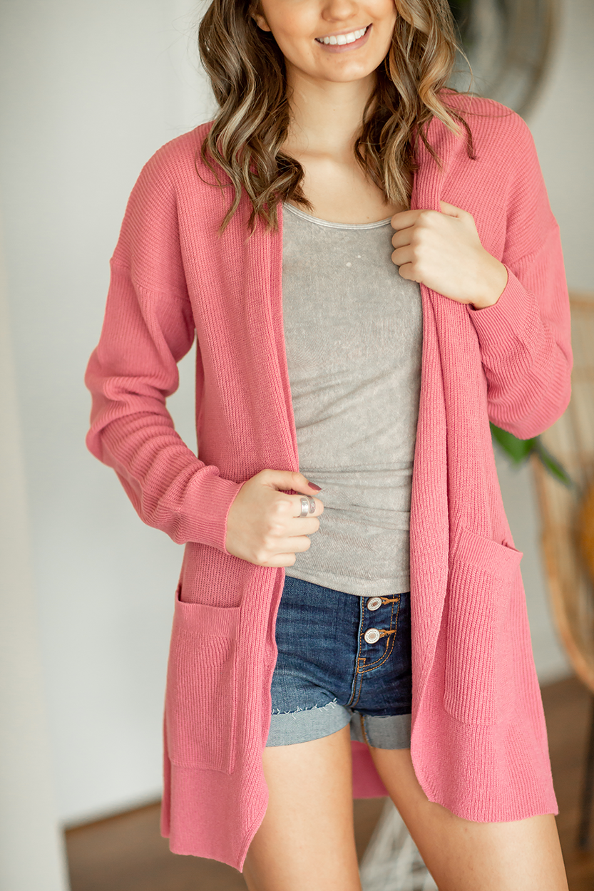 Please Be Mine Open Cardigan in Pink
