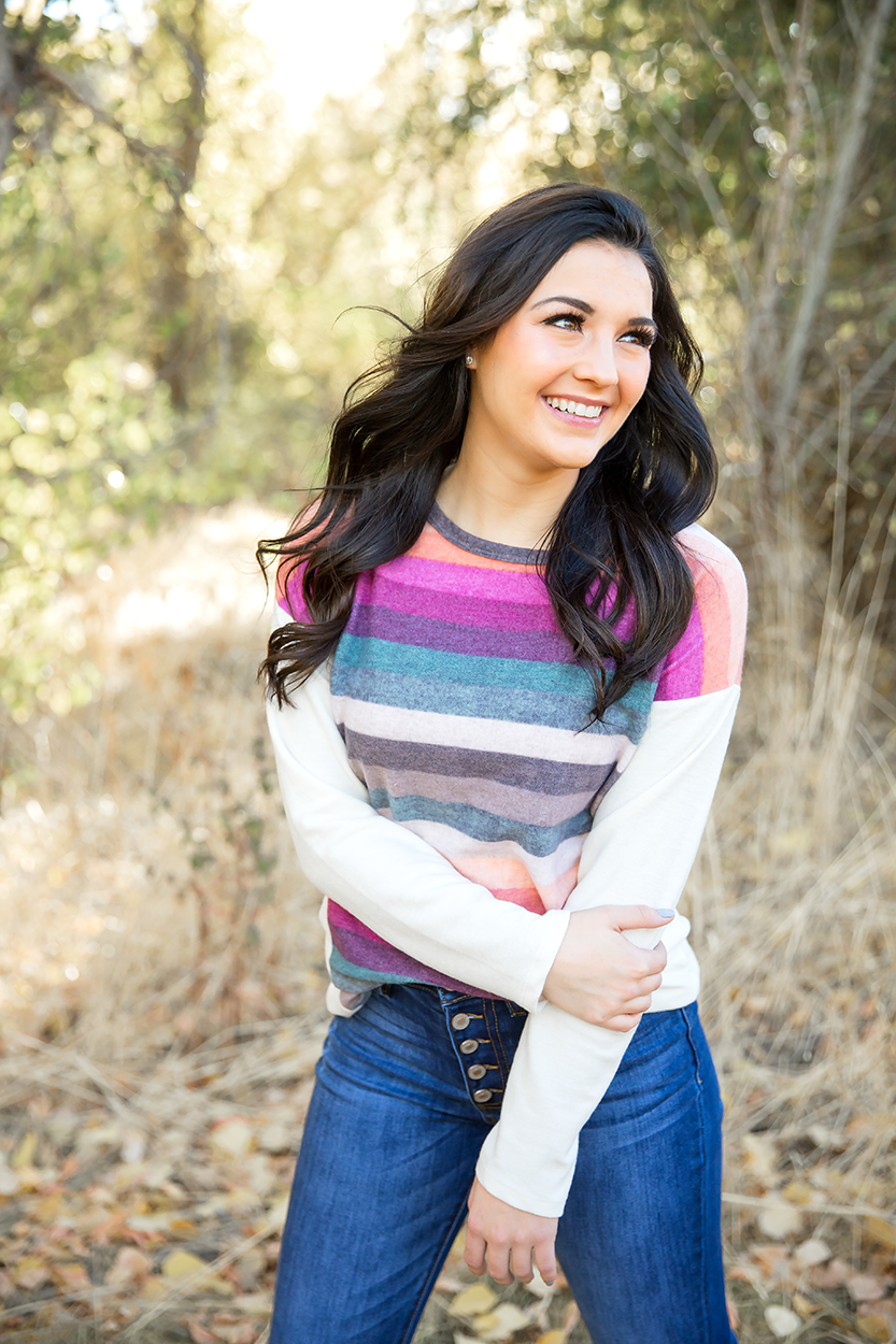 Lift Me Up Ivory Sweater Top with Multi Stripes