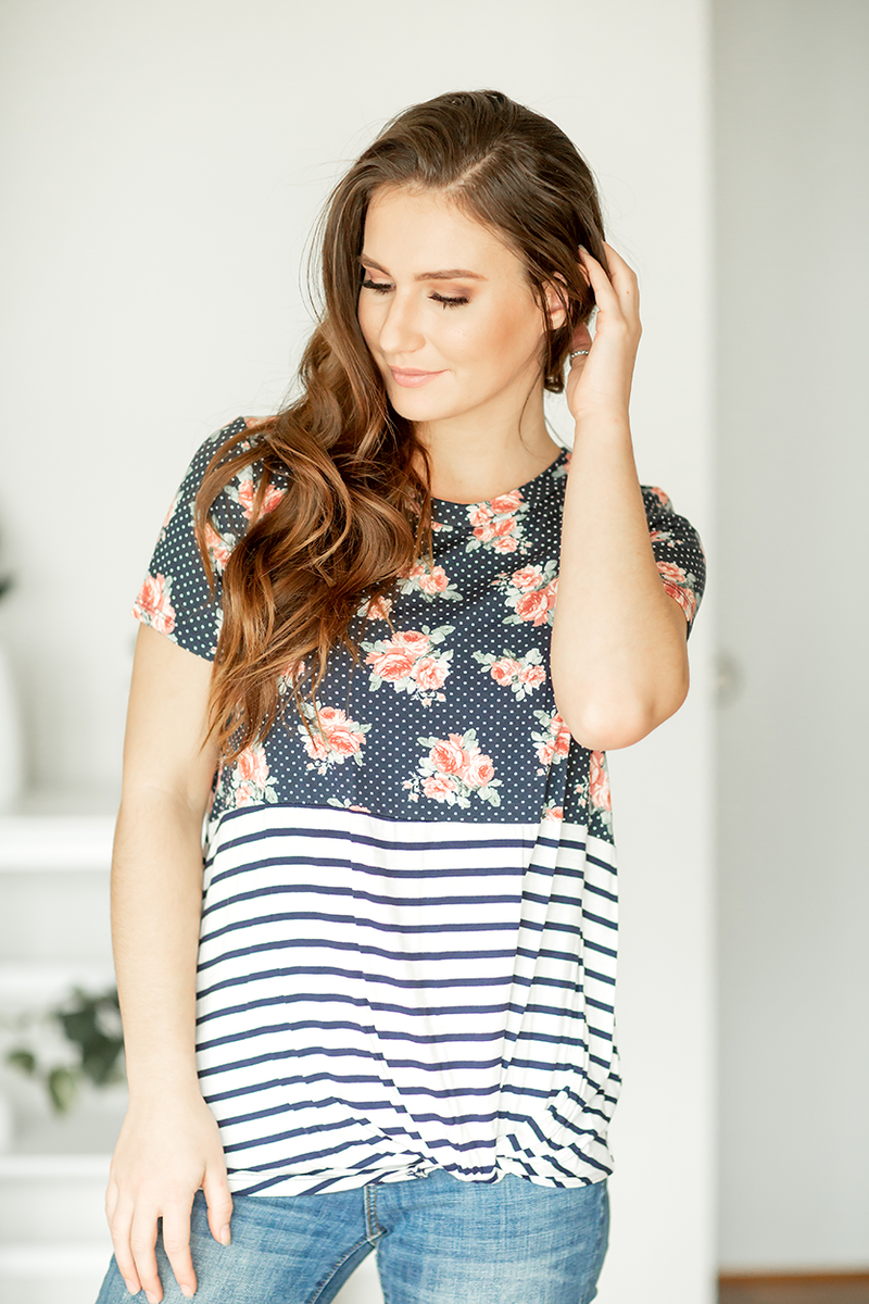 Go Crazy Twist Top With Navy Floral and Stripes