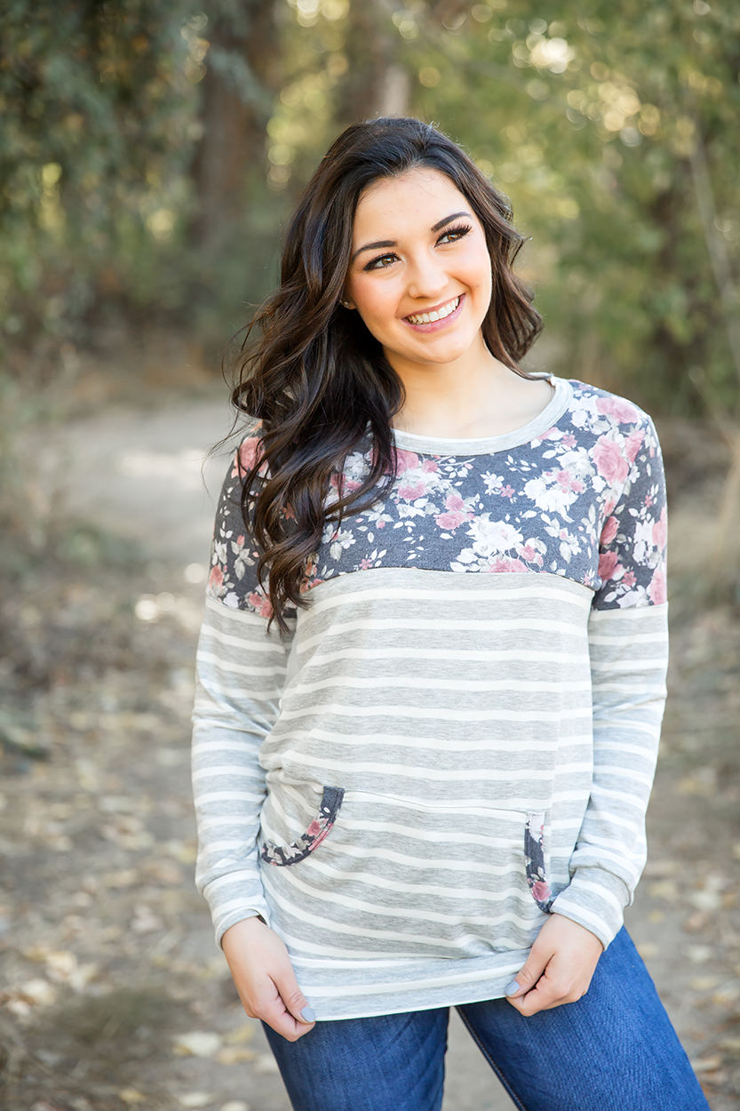 Watching After You Heather Gray Striped Top with Charcoal Floral