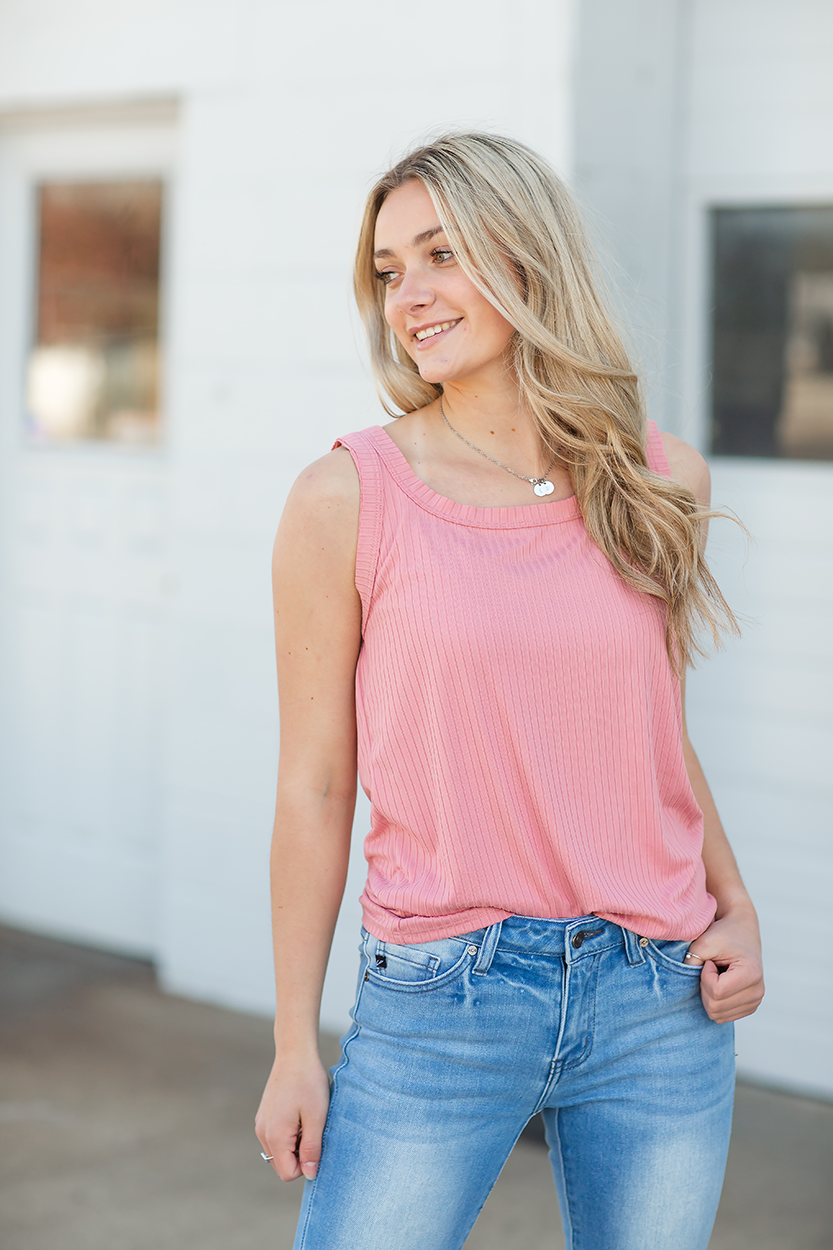 So Sweet Ribbed Tank Top in Strawberry