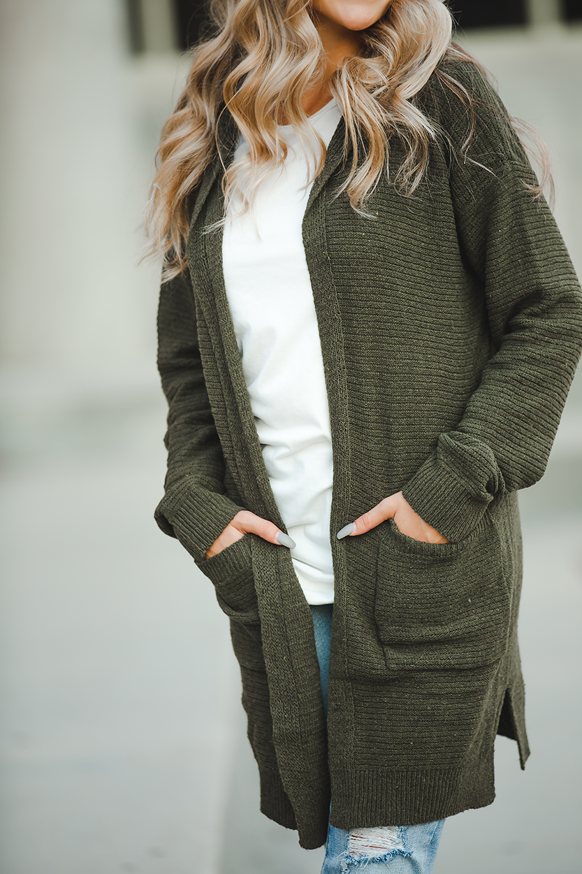 Midnight Special Olive Cardigan with Hood